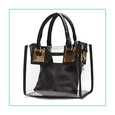 Cooba 2Pcs Women Clear Jelly Tote Beach Crossbody Transparent Messenger Shoulder Bag Handbag, Black, One_Size並行輸入品