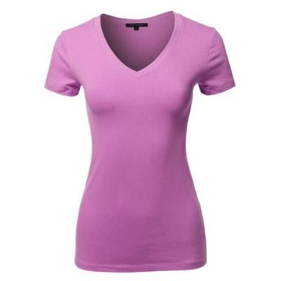 レディース 衣類 トップス FashionOutfit Women's Basic Cotton V-Neck Short Sleeve Top Tシャツ