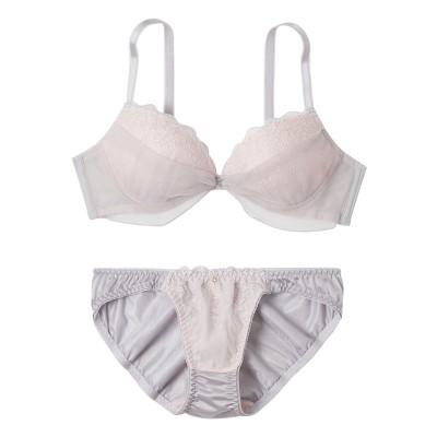 エアリーカラーチュールレース ノンワイヤーブラジャー・ショーツセット(L) (ブラジャー&ショーツセット)Bras & Panties