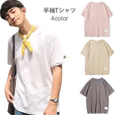 刺繍 メンズ Tシャツ 半袖Tシャツ 薄手Tシャツ ゆるTシャツ 伸縮性 トップス プルオーバー フルーツ柄刺繍 お洒落 カジュアル 個性的 シンプル