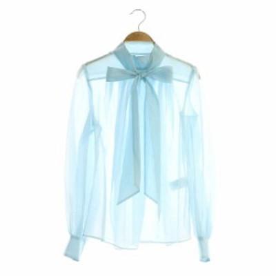 【中古】シクラス CYCLAS シアー シルク ボウタイ ブラウス シャツ 長袖 34 水色 サックス /HS ■OS ■SH レディース