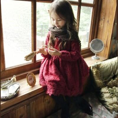 子供服 ワンピース キッズ 女の子 秋 ジュニア 長袖 レース 女の子 レースワンピース ガールズ 子ども服 かわいい 韓国 ファッション 100cm-150cm