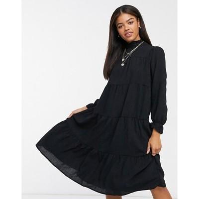 ピーシーズ レディース ワンピース トップス Pieces midi dress with high neck and tiered skirt in black