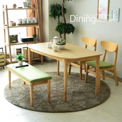 ダイニングテーブルセット ベンチ 4人掛け 北欧 4点セット 幅130