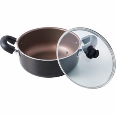 大きくて洗いやすい大型鍋 26cm IH ブラウンメタリック ND-8221(1個)[鍋]