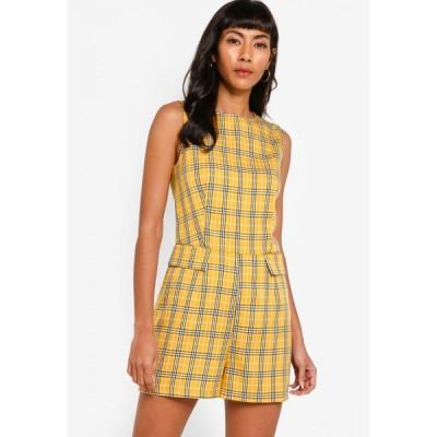 ザローラ Zalora Basics レディース オールインワン プレイスーツ ワンピース・ドレス Pocket Detail Playsuit Mustard Bold Check