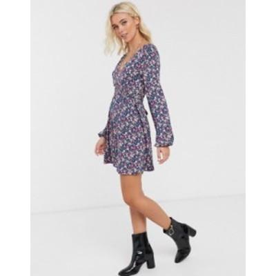 エイソス レディース ワンピース トップス ASOS DESIGN long sleeve mini dress with shirred waist in ditsy print Blue based ditsy
