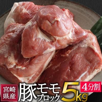 宮崎県産<豚モモブロック>5kg(4分割)※60日以内に出荷