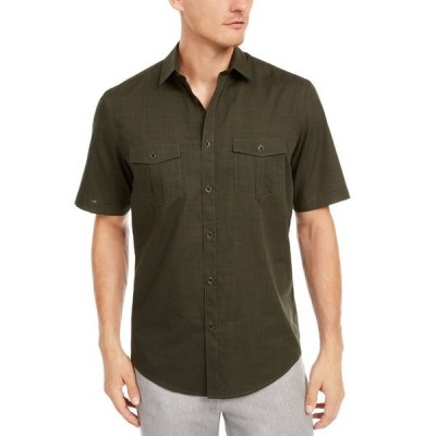 アルファニ メンズ シャツ トップス Men's Warren Textured Short Sleeve Shirt