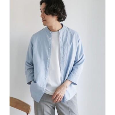 URBAN RESEARCH DOORS / アーバンリサーチ ドアーズ 綿麻ライトオックスバンドカラーシャツ