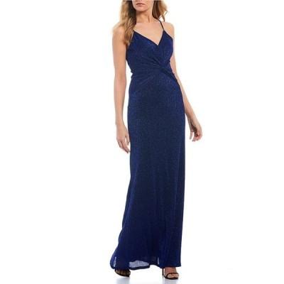 シティヴァイブ レディース ワンピース トップス Spaghetti Strap Twist-Front Glitter Pleated Knit Long Dress