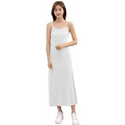 レディース タンクトップ ペチコート ロング 透けない 夏 ワンピース 透けない 夏 綿 黒 白 ピンク ベージュ (XL, fリブ白-ロング)