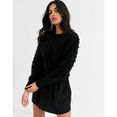 アンドアザーストーリーズ レディース ニット&セーター アウター & Other Stories puff sleeve bobble-detail sweater in black Black