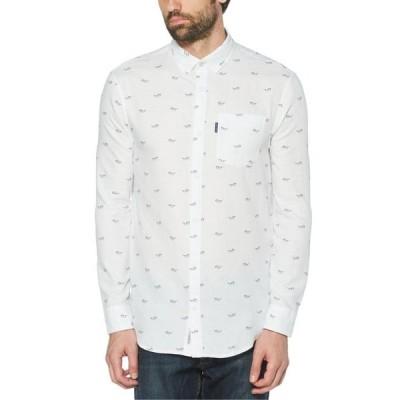 オリジナルペンギン メンズ シャツ トップス Men's Glasses Print Long Sleeve Button-Down Shirt