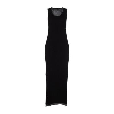 HAPPINESS ロングワンピース&ドレス ブラック M 60% ナイロン 30% レーヨン 7% ウール 3% カシミヤ ロングワンピース&ドレス
