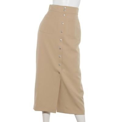 Cheek (チーク) レディース ドット釦ポケット付きタイトスカート ベージュ M