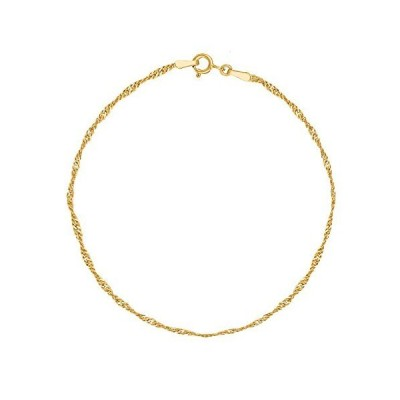 Ritastephens 14k Real Yellow Gold Singapore Sparkle Anklet Ankle Bracelet 10 Inches