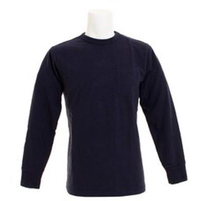 Tシャツ メンズ 長袖 スラブ クルー ポケ付き ロングスリーブ 7519 NVY オンライン価格