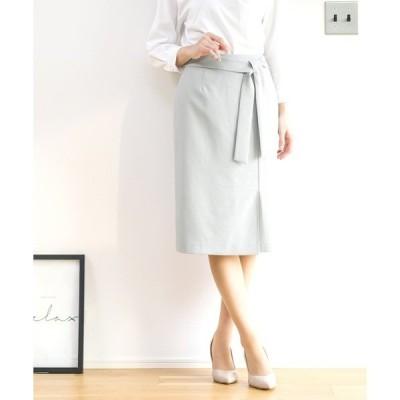 スカート 【先行予約販売】ブッチャー・サイドリボンデザインタイトスカート(裏地付き)※手洗い可