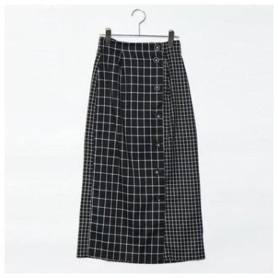 スタイルブロック STYLEBLOCK ウィンドウペンチェック柄切り替えタイトスカート (ブラック)