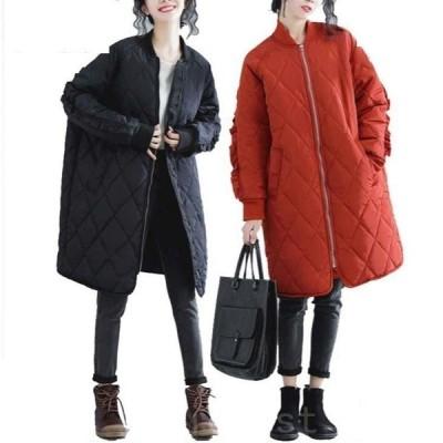 2021新作秋 冬 アウター 大きいサイズ レディース 袖ギャザ キルティングコート 長袖 幅広 中綿