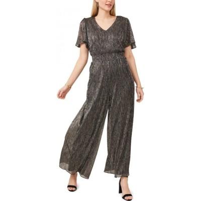 MSK レディース オールインワン ジャンプスーツ 大きいサイズ ワンピース・ドレス Plus Size Metallic Smocked-Waist Jumpsuit Dark Silver