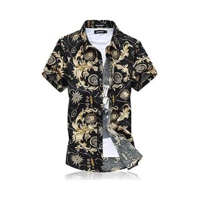 [CEEN] シャツ メンズ 半袖 夏 大きいサイズ オラオラ ビーチ 綿 スリム カジュアルシャツ (ブラック 5XL)