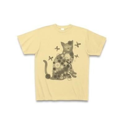 花と猫(GRAY) Tシャツ(ナチュラル)
