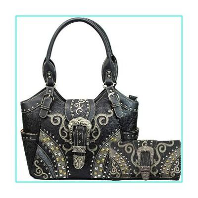 【新品】Justin West Clydesdale Tooled Leather Metal Stud Buckle Conceal Carry Women Handbag Purse (Black Tote Wallet Set)(並行輸入品)