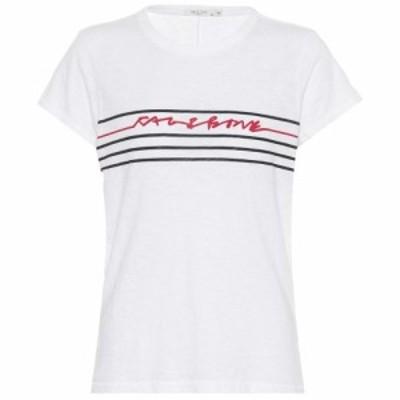 ラグandボーン Rag and Bone レディース Tシャツ トップス Script logo cotton T-shirt White