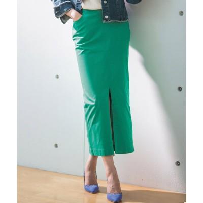 ラナン Ranan チノライクロングタイトスカート (グリーン)