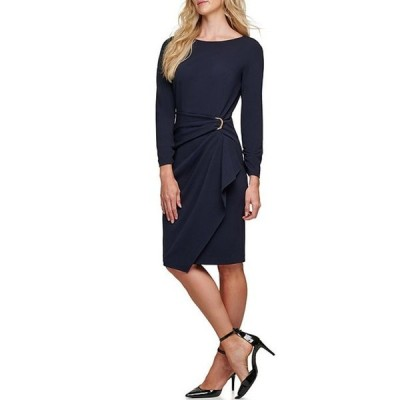 ダナ キャラン ニューヨーク レディース ワンピース トップス Asymmetrical Ruffle Front D-Ring Ruched Long Sleeve Crepe Sheath Dress
