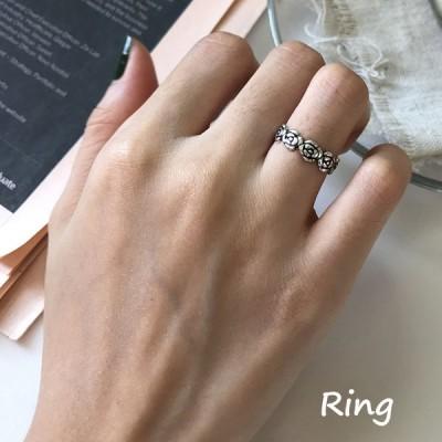 指輪 オープンリング レディース 女性 アクセサリー シルバー925 ローズ バラ かわいい おしゃれ フリーサイズ 調節可能 ビンテージ風 ギフト