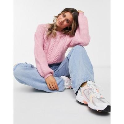 ジャック ウィルス レディース ニット・セーター アウター Jack Wills cable knit balloon sleeve sweater in pink
