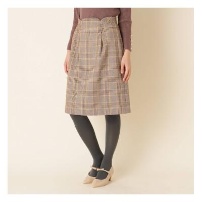 【クチュール ブローチ/Couture brooch】 【WEB限定サイズ(LL)あり/手洗い可】ウエストタックチェックスカート