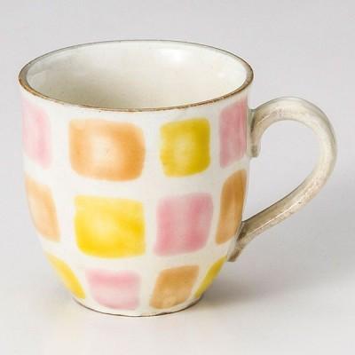 (業務用・マグカップ)色彩格子マグカップ オレンジ[73427-518](入数:5)