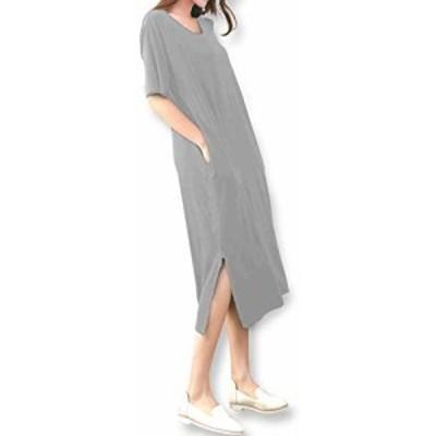 [サフィーブラウ] A37 (Large) B グレー レディース ガールズ 女子 女 女性 tシャツ ワンピース チュニック プルオーバー カットソー vネ