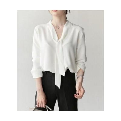 二枚送料無料 レディース長袖ワイシャツ シフォン シンプルYシャツ オフィス 通勤 リボン 裾スリット 3色 ブラウス ボウタイ チュニック シャツ