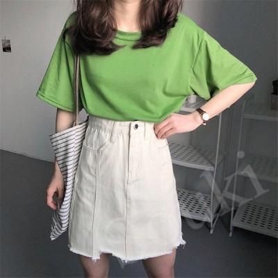 レディースファッション スカート 2色 台型 ハイウェスト 通勤 学院 無地 ミニー デニム ショート カジュアル 春 夏