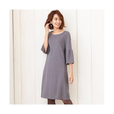 バックリボンストライプ切替ワンピース (ワンピース)Dress
