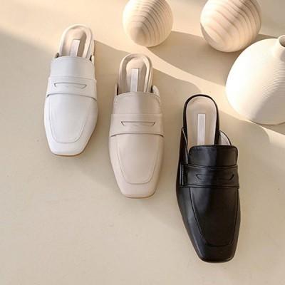 バブーシュ ローファー レディースシューズ スクエアトゥ ローヒール フラット サンダル スリッパ ブラック ベージュ ホワイト 靴 歩きやすい おじ靴 黒 白