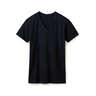 [ベルメゾン] あったかインナー・綿混Vネック半袖メンズ ブラック サイズ:LL