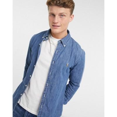 ラルフ ローレン Polo Ralph Lauren メンズ シャツ デニム トップス Slim Fit Denim Shirt In Mid Wash Blue ブルー