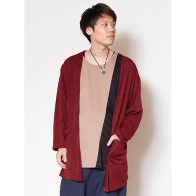 【チャイハネ】yul レイヤードMEN'Sカーディガン インナー付きセットアップ ワインレッド