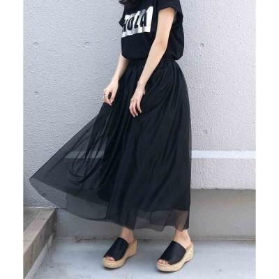 スカート 【日本製】シャイニーフレアスカート