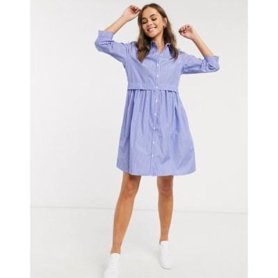 ジェイディーワイ レディース ワンピース トップス JDY poplin mini shirt dress in blue stripe