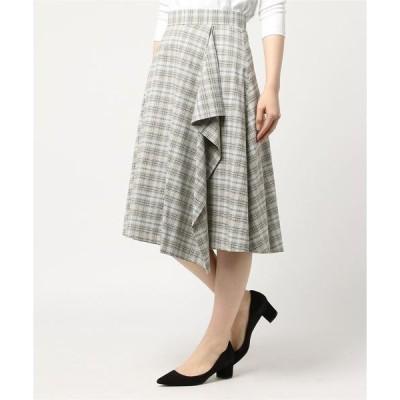 スカート カラーラインチェックアシメラップスカート
