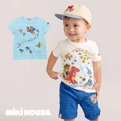 【MIKIHOUSE ミキハウス】冒険プッチー 刺繍半袖Tシャツ(80cm・90cm・100cm)