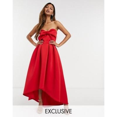 トゥルーバイオレット レディース ワンピース トップス True Violet oversized bow high/low midi dress in red
