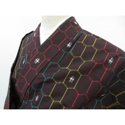 宗sou 紬 単衣 亀甲繋ぎに幾何学文 着物【リサイクル】【着】